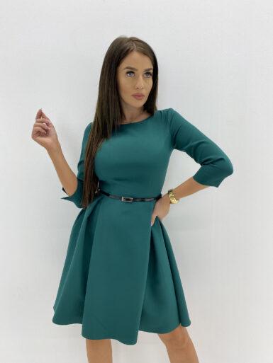 obleka-z-gubami-in-paščkom-zelena