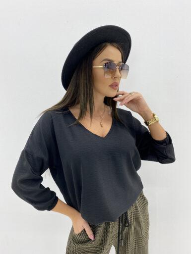 majica-bluza-v-izrez-črna