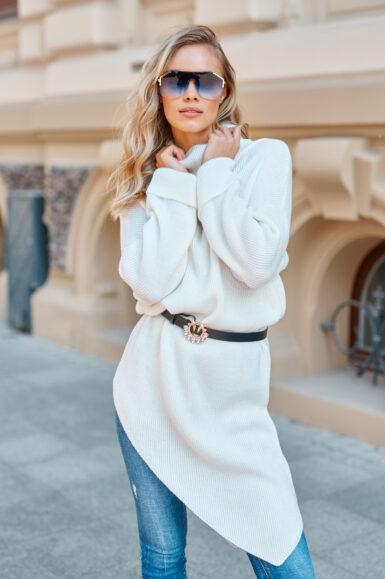 dolg-puli-pulover-asimetrični-bel