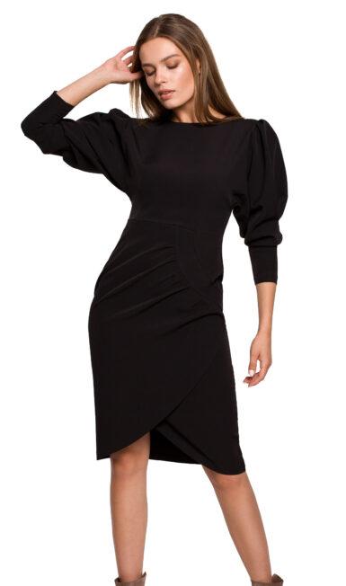 damska-obleka-enobarvna-z-nabranimi-rokavi-črna