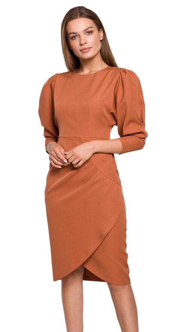 damska-obleka-enobarvna-z-nabranimi-rokavi-oranžna