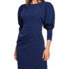 damska-obleka-enobarvna-z-nabranimi-rokavi-modra