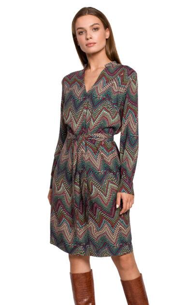 damska-viskozna-obleka-v-azteškem-vzorčku