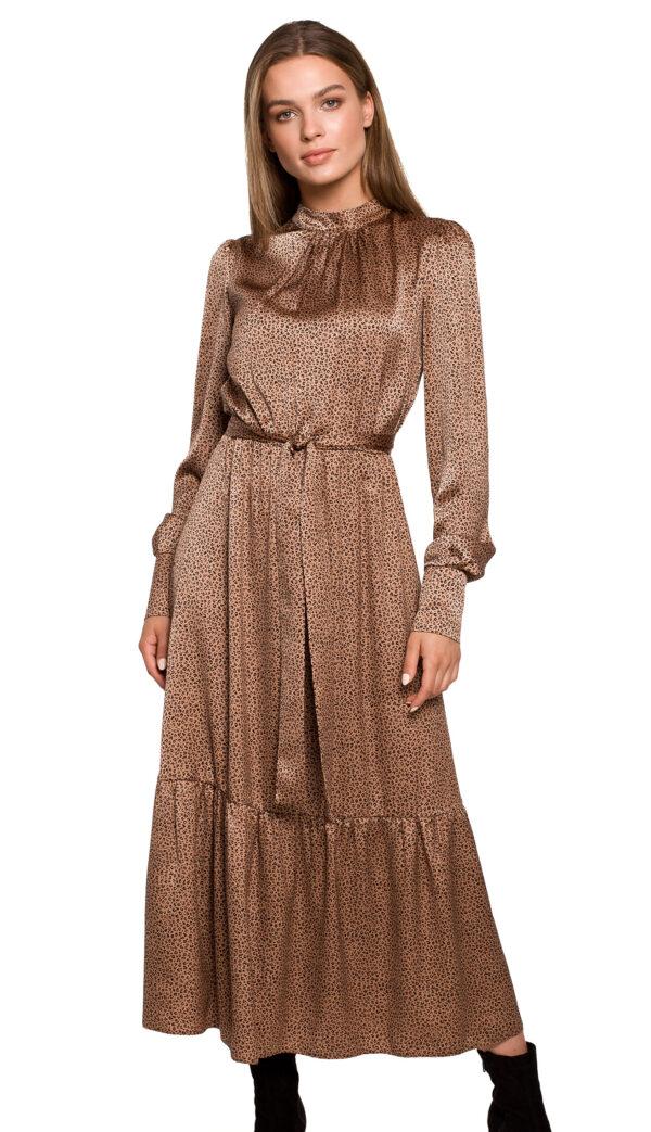 dolga-damska-elegantna-obleka-v-drobnem-vzorčku