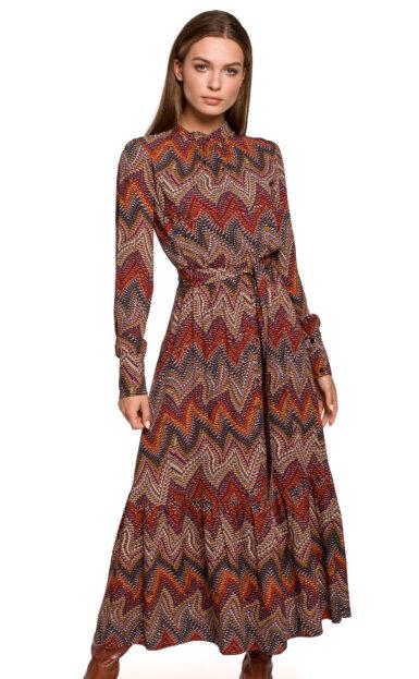 dolga-damska-elegantna-obleka-v-azteškem-vzorčku