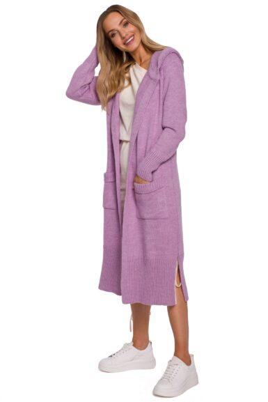 dolga jopica s kapuco v vijolični barvi