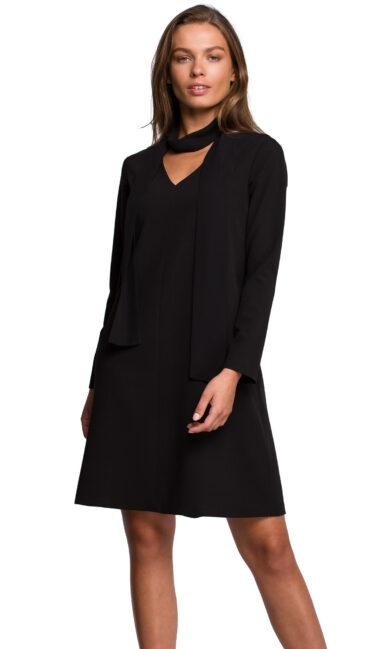 obleka trapezna s šalom črna